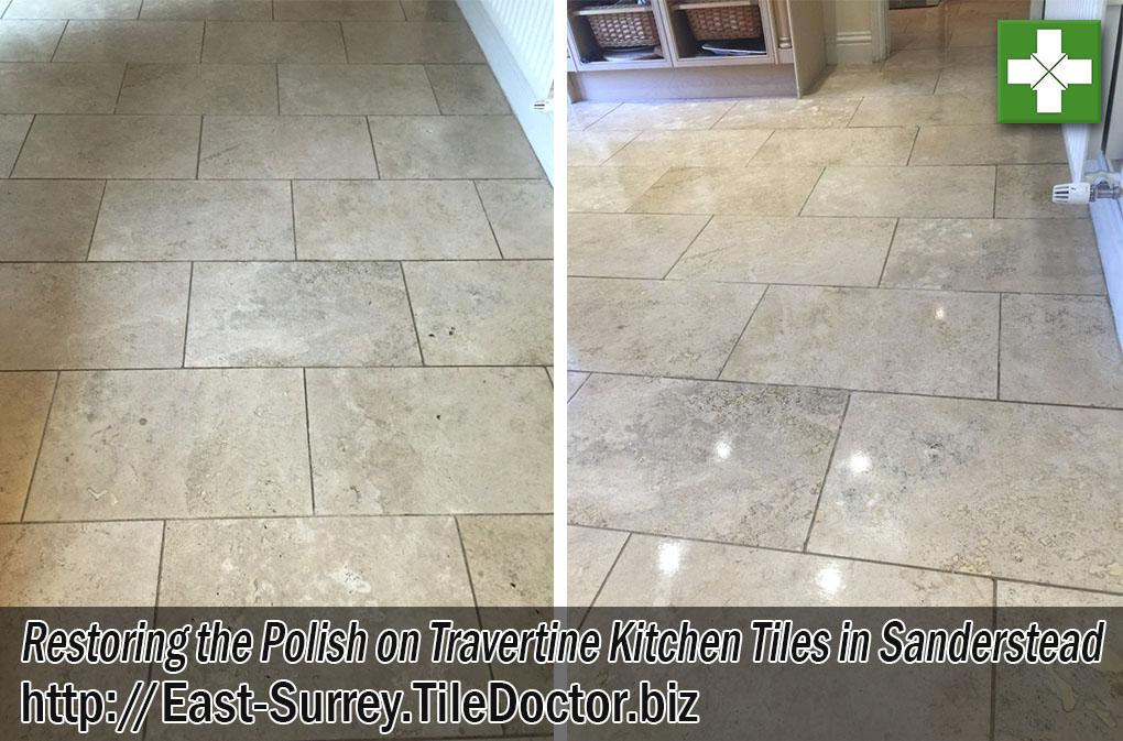 Travertine Kitchen Floor Before and After Renovation in Sanderstead