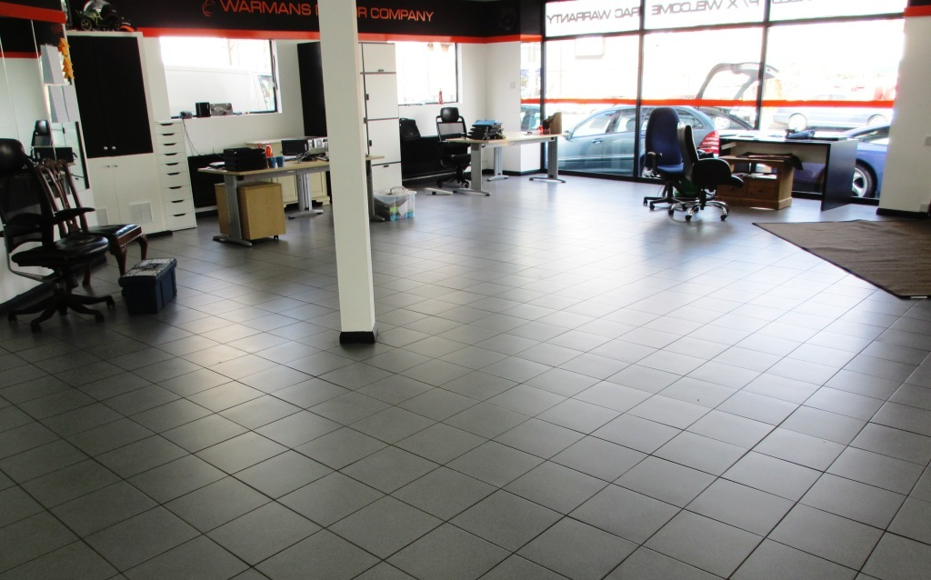 Porcelain tile cleaning in a Car Showroom, Weybridge