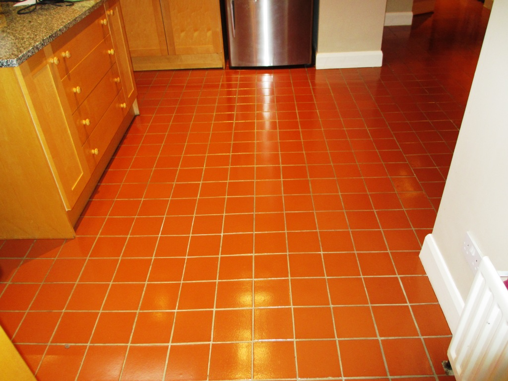 Quarry Tiled Kitchen Floor Cleaned in Leatherhead