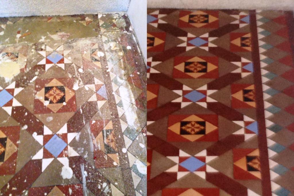 Restoring a Victorian Tiled floor hidden under Carpet in Balham