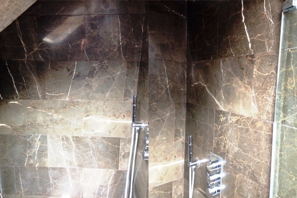 Removing Limescale from Marble Shower Tiles in Addlestone