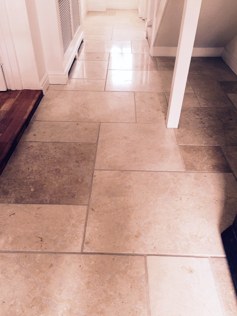 Limestone Tiled Floor Cleaning in Leatherhead