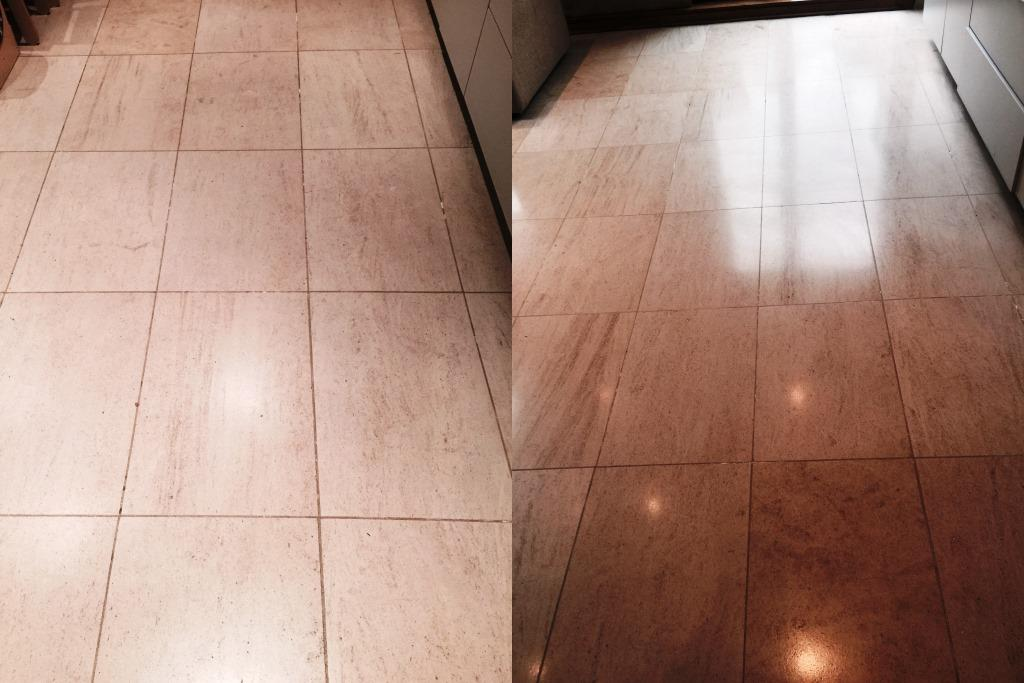Limestone Kitchen Floor and Shower Tiles Refinished in Wandsworth