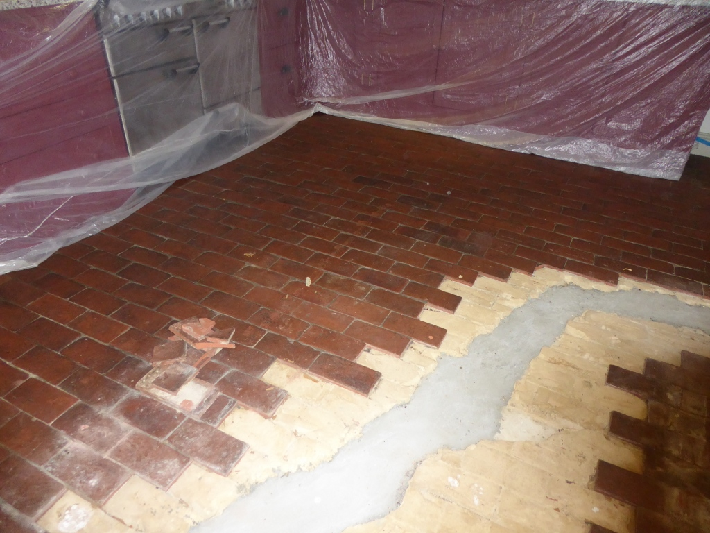 Quarry Tiled Floor Before Rebuild Croydon