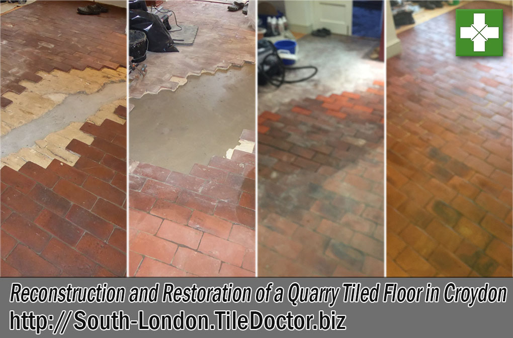 Quarry Tiled Floor Before and After Renovation Croydon
