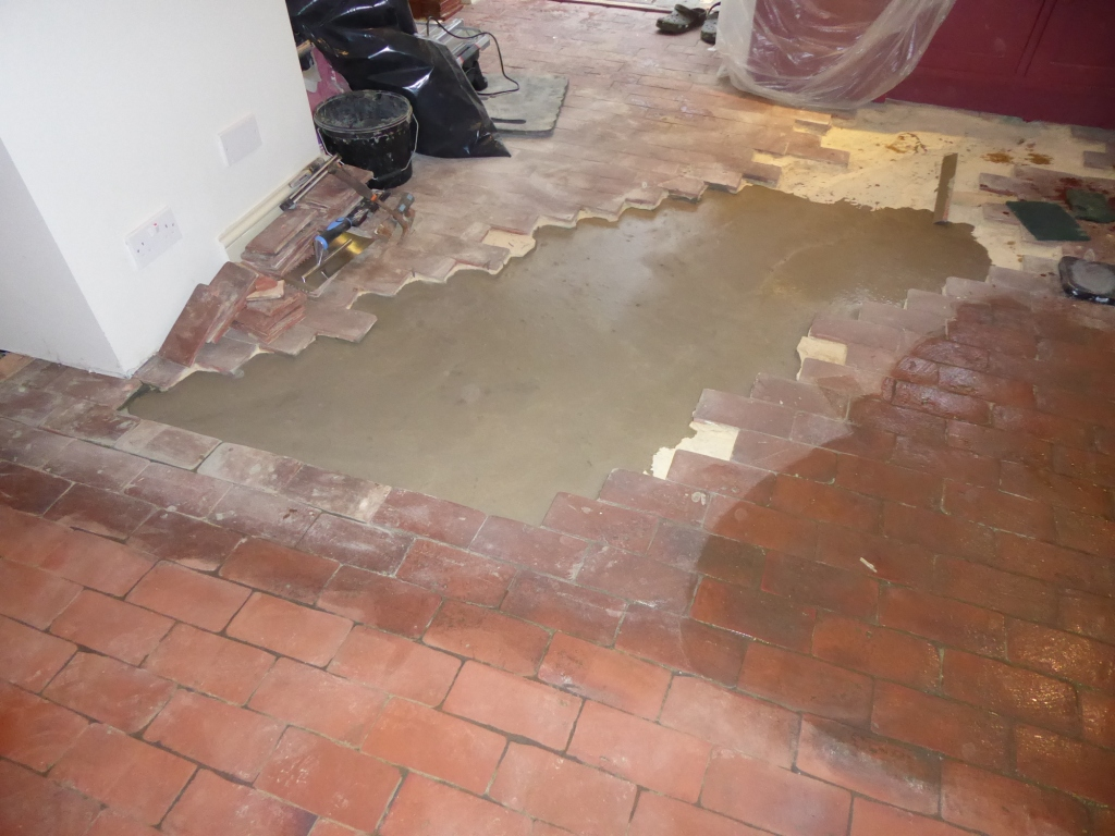 Quarry Tiled Floor During Rebuild Croydon
