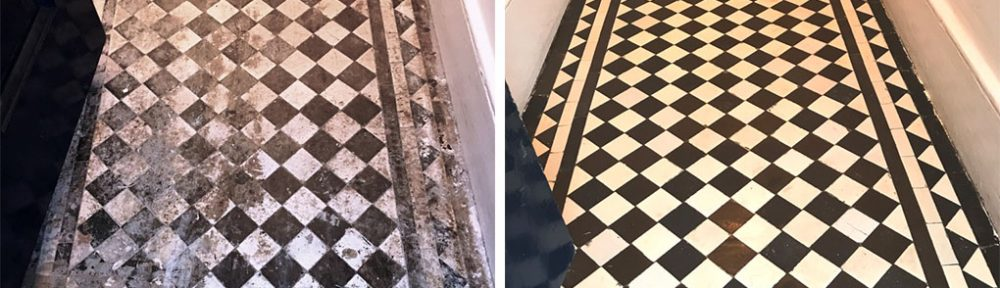 Dirty and Stained Victorian Hallway Tiles Rejuvenated in Streatham