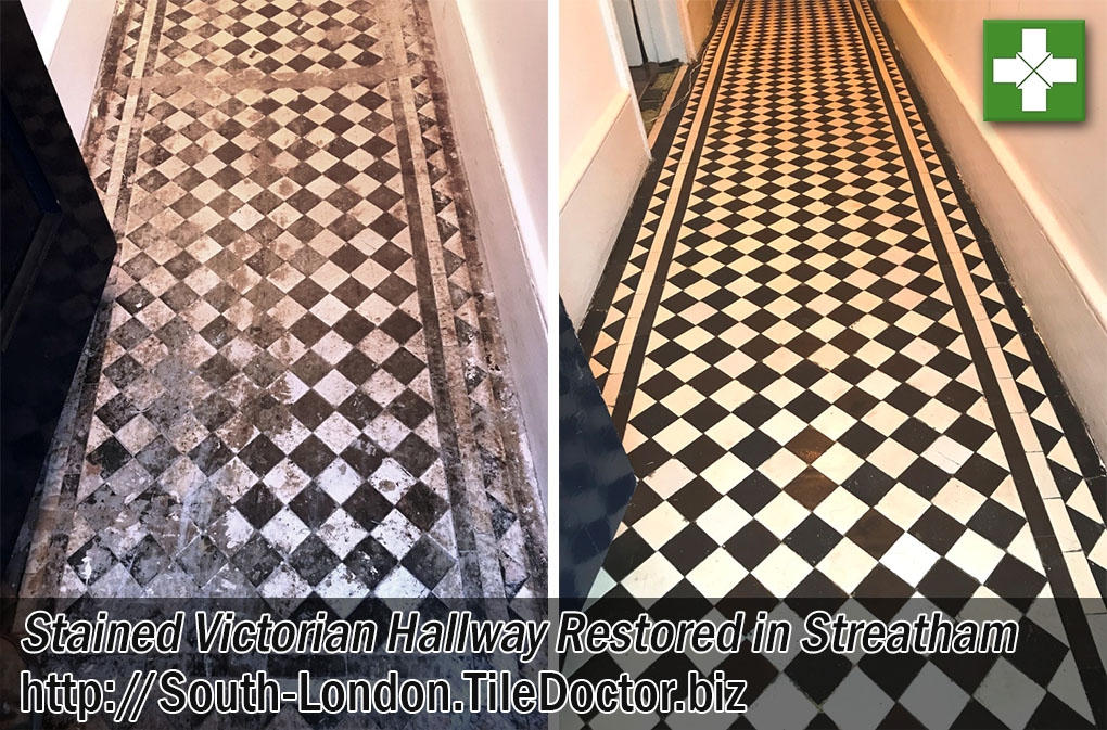 Victorian Tiled Hallway Before and After Restoration Streatham