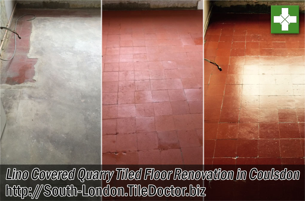 Quarry Tiled Floor Before and After Renovation Coulsdon