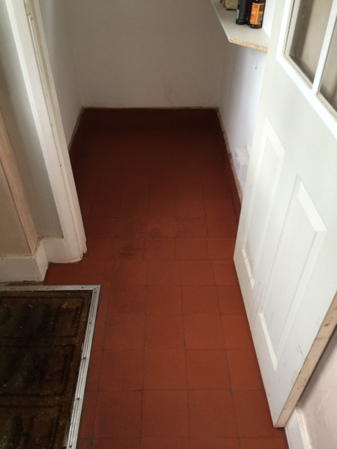 Quarry Tiled Floor During Renovation Coulsdon