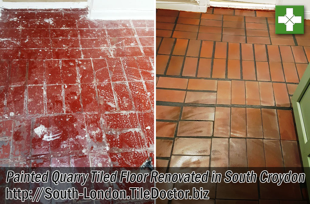 Painted Quarry Tiled Floor Before and After Renovation South Croydon