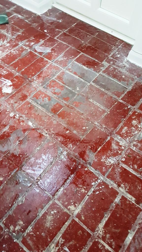 Quarry Tiled Porch Before Restoration South Croydon