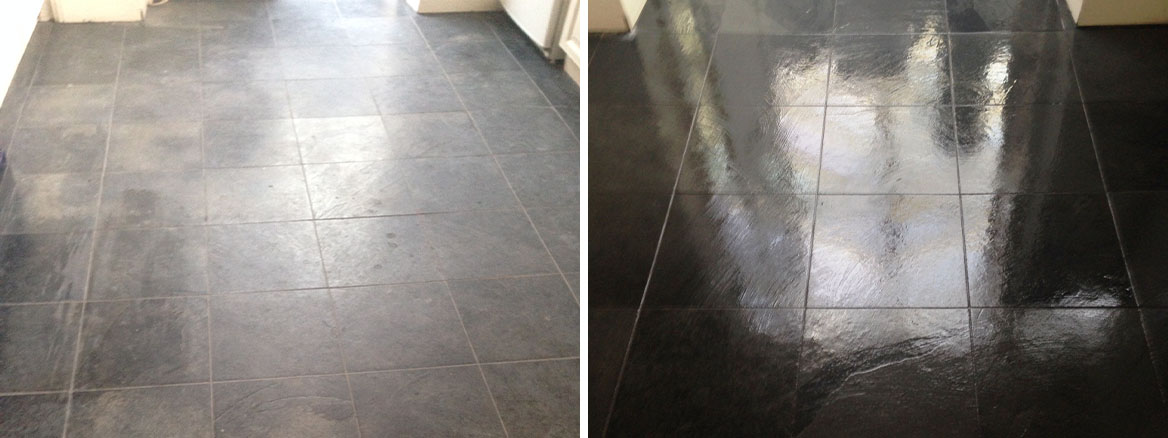 Slate Tiled Floor restored to a natural finish in Balham, South London