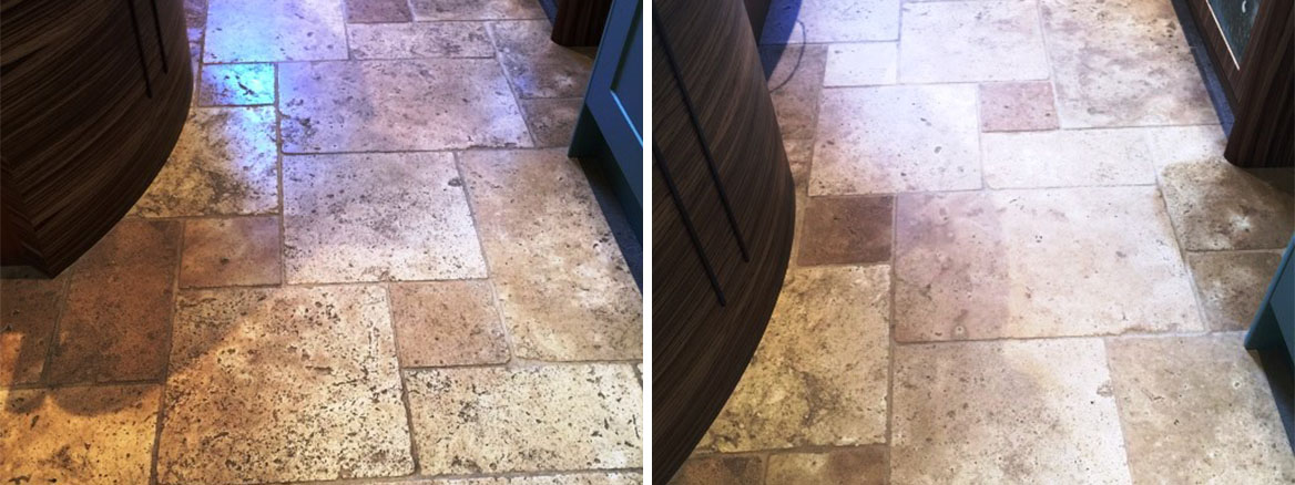 Honed Travertine Kensington Before and After