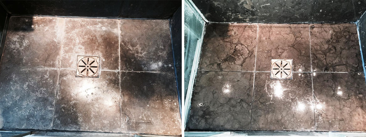 Limestone Shower Tiles Before After Cleaning Wandsworth
