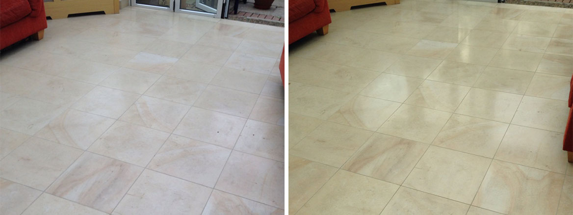 Limestone Tiled Kitchen Floor Cleaned and Polished in Fulham