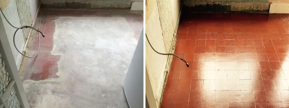Quarry Tiled Floor Before After Renovation Coulsdon