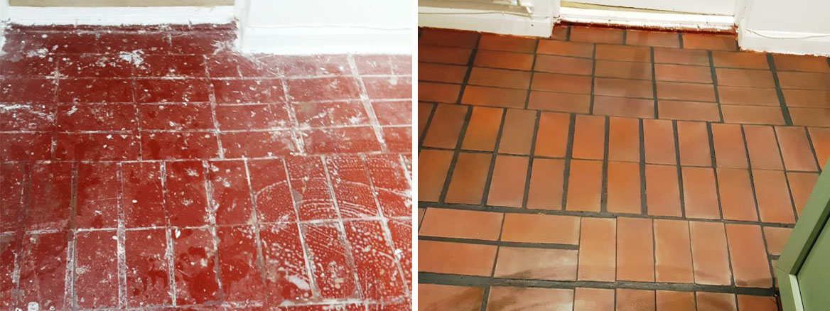 Quarry Tiled Porch Before After Restoration South Croydon