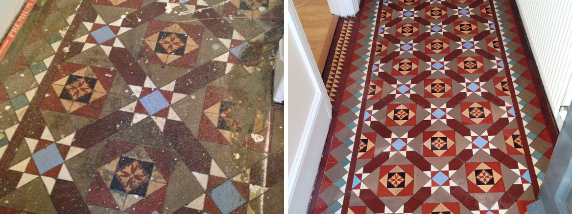 Victorian Tiled Floor Balham Before After Cleaning
