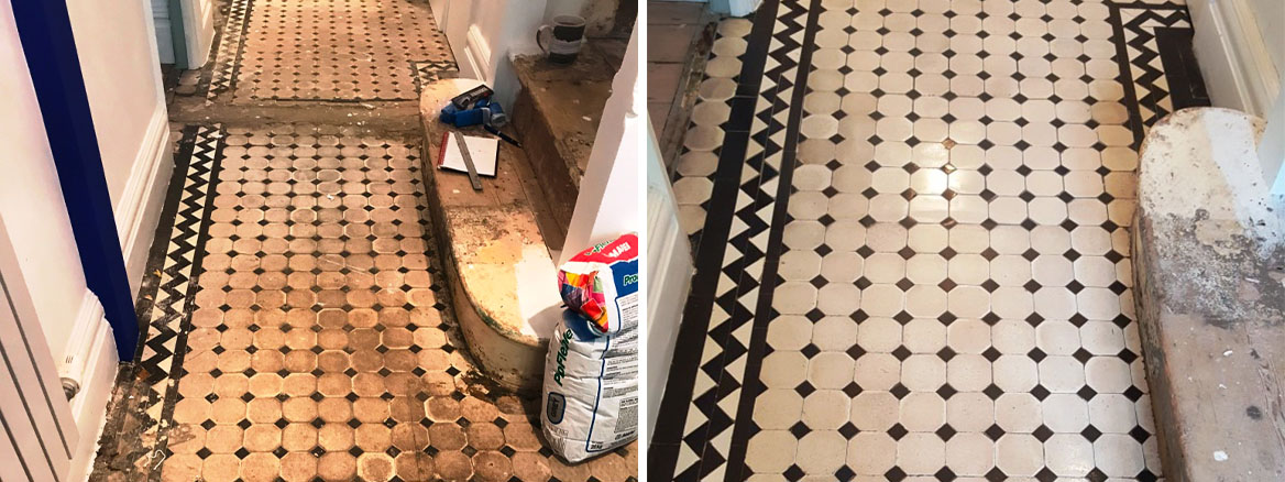 Old Victorian Tiled Hallway Fully Restored in Brixton