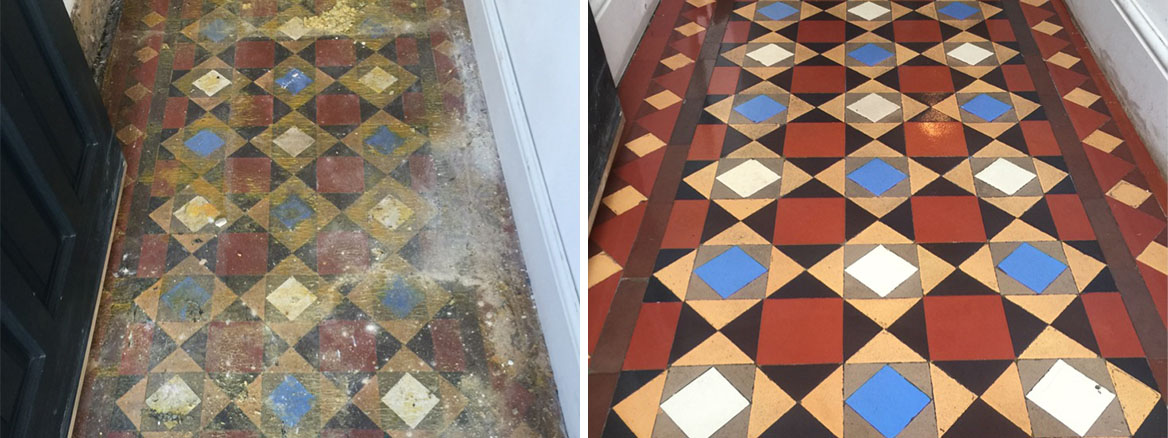 Heavily Soiled Victorian Tiled Hallway Restored in Fulham