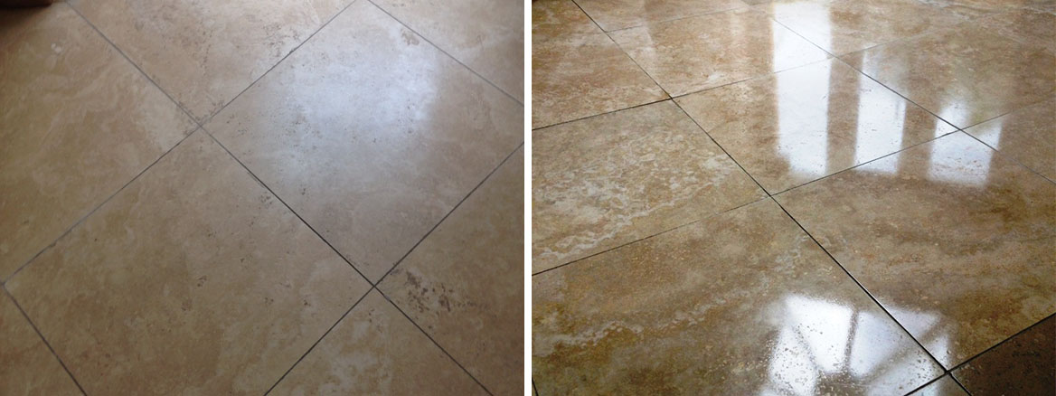 Travertine floor Surbiton before after