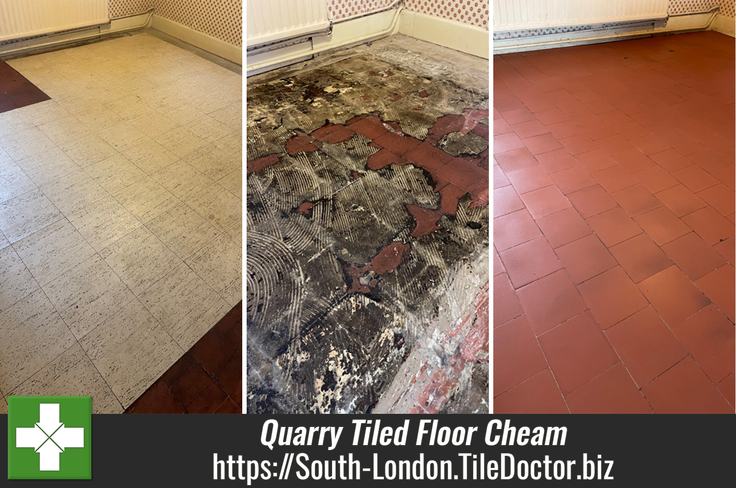 Vinyl Covered Quarry Tiled Floor Restored in Cheam