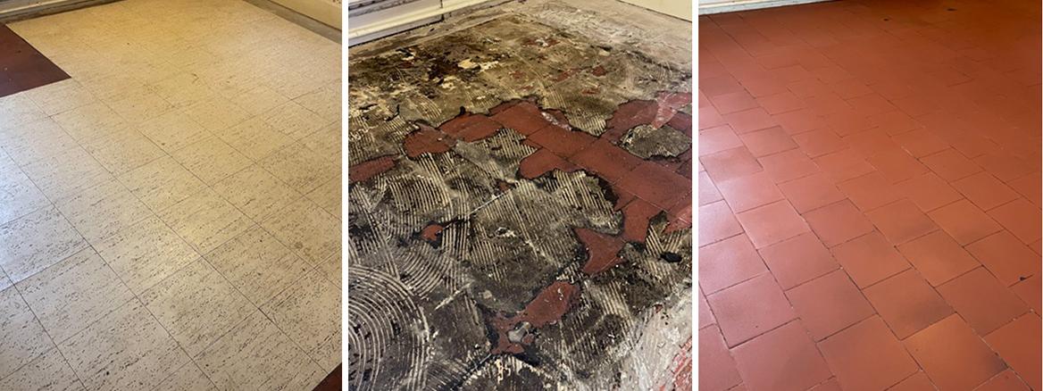 Vinyl Covered Quarry Tiled Floor Restored in Cheam